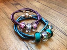 PANDORA Triple Leather Bracelets in Purple n Teal with Sea Glass Murano. Very Good Colour Combo ♡
