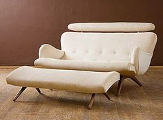 Contour Sofa by Vladimir Kagan exclusively for Ralph Pucci LOVE the sofa ottoman. Weathered Furniture, Mcm Furniture, Furniture Makeover, Furniture Design, Take A Seat, Love Seat, Mid Century Modern Furniture, Cool Chairs, Foot Rest