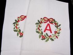 Monogrammed Linen Christmas Towels Set of Two. $28.00, via Etsy.