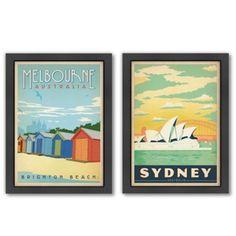 Americanflat Australia Vintage Travel Framed Wall Art - BedBathandBeyond.com