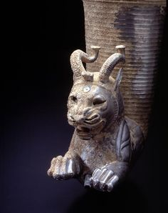 Rhyton with a Horned-lion Protome, Persia, Achaemenid period, 5th to 4th centuries B.C, Materials Silver with vitreous paste inlays