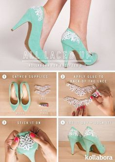 In this post we are going to show you some money-saving ideas that will give your old heels a brand new look. Keep scrolling down and take a look at 14 Amazing DIY Heels Projects That You Have To Try. Shoe Makeover, Stoff Design, Diy Kleidung, Diy Vetement, Diy Mode, Do It Yourself Fashion, Diy Clothing, Diy Fashion, Fashion Hacks