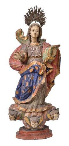 NOSSA SENHORA DO ROSÁRIO - Magnífica imagem em madeira policromada. Alt. 75m. Bahia, séc. XIX. Acompanha resplendor em prata. Base R$3.000,00