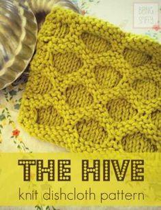 Many Free Knitting Patterns: The Hive Knit Dishcloth -