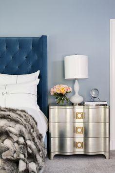 Blue headboard with silver nightstand Blue Rooms, Blue Bedroom, Bedroom Decor, Master Bedroom, Transitional Living Rooms, Transitional House, Transitional Lighting, Silver Nightstand, Nightstand Ideas