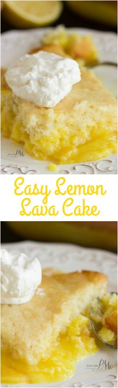 Easy Lemon Lava Cake is silky and luscious. Made with cake mix and lemon pudding, this cake comes out of the oven with a self-made lemon sauce Lemon Desserts, Lemon Recipes, Easy Desserts, Delicious Desserts, Cake Recipes, Dessert Recipes, Dinner Recipes, Potluck Recipes, Pastry Recipes