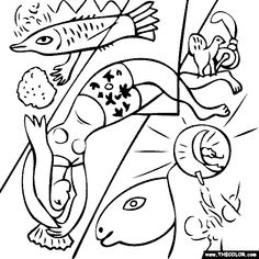 marc chagall coloring pages | Marc Chagall - The Blue Circus