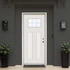 Stanley Doors 37.375 in. x 83 in. Infinity Left-Hand Craftsman Finished Fiberglass Mahogany Woodgrain Prehung Front Door Brickmould