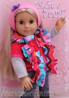 Sewing Clothes Patterns easy to make fluffy scarf. - Find some great free doll clothes patterns for your Barbie, American Girl Doll, baby doll, and more. American Girl Parties, American Girl Crafts, American Doll Clothes, American Girls, Sewing Doll Clothes, Sewing Dolls, Girl Doll Clothes, Ag Dolls, Girl Dolls