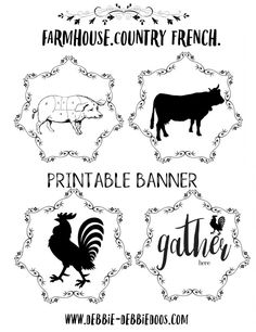 Country French Farmhouse free Printable Banner - Debbiedoos by audra Free Printable Banner, Printable Labels, Free Printables, French Farmhouse, Country French, Rustic French, Country Art, Farmhouse Ideas, French Style
