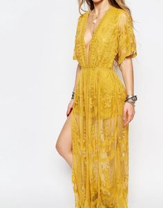 Honey Punch Boho Maxi Dress With Plunge Neck In Romantic Lace