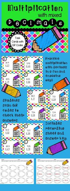 Use this fun and engaging math center to help your students master multiplication with mixed decimals. Students can scan the QR codes to check their work. 5th grade CCSS aligned: 5.NBT.B.7