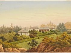 Annandale House home of Major Johnstone -painting by John Clark Hoyte. Demolished in 1905 and the estate was subdivided. Johnstones Paints, Story Of Esther, Thompson Square, Marine Officer, First Fleet, Terra Australis, John Clark, Historical Society