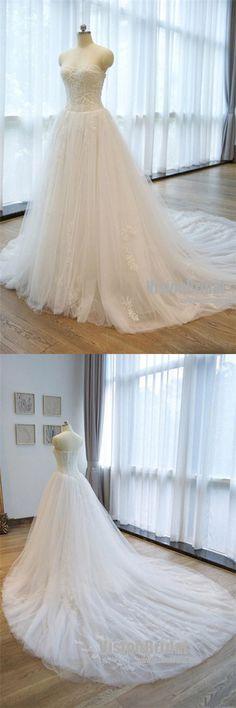 Charming Strapless Appliques A Line Chapel Train Wedding Dress With Beaded, Wedding Dress, VB0702 #weddingdress #weddings #weddingplanning