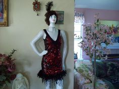 Flapper Dress/Costume Red/Black Sequins W/Feather HeadBand
