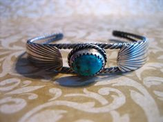 Vintage Sterling Silver and Turquoise Cuff by charmingellie, $65.00