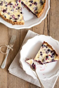 Walnut and coconut crusted berry ricotta tart