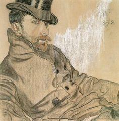 Eyes to the stage pilgrim., lumiere-rouge: Portrait of Kazimierz Lewandowski. Art Nouveau, Web Gallery, Matisse, Gouache, Figurative Art, Art Forms, Printmaking, Art Drawings, Illustration Art