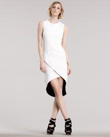 J. Mendel - Double-Face Cutaway Dress, Chalk/Black
