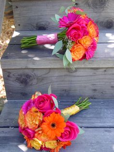 Two very colorful bridal bouquets for a summertime Guerneville wedding at Boon Hotel. Pink roses orange roses and gerberea. Flowers by The Wild Orchid Sebastopol florist. Sonoma County wedding flowers