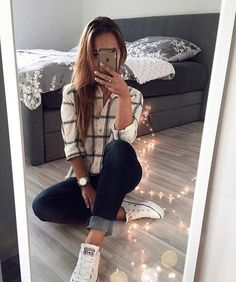 20 casual outfits to leave your crush open-mouthed - To conquer it at first sight. Informations About 20 Outfits casuales para dejar con la boca abierta - Mode Outfits, Casual Outfits, Fashion Outfits, Womens Fashion, Trendy Fall Outfits, Fashionable Outfits, Girly Outfits, Holiday Outfits, Vans Outfit