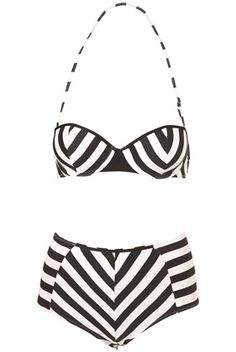 Want this bathing suit! #black #white #swimsuit #stripes #chevron