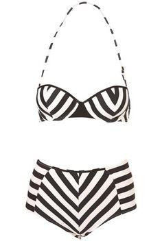 Want this bathing suit! #black #white #swimsuit #stripes #chevron