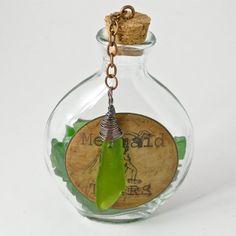 Mermaid Tears Glass Flask Filled with by MermaidTearsSeaglass, $14.20