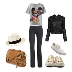 This is a fun casual look. I think I'd wear skinny jeans with it instead of the yoga type pants.