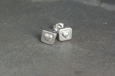 Sterling Silver Square Heart Stud Earrings, Delicate Earrings, Stud Earrings, Sterling Silver Heart Stud Earrings, Heart Jewelry, Heart Stud by SilverSculptor on Etsy
