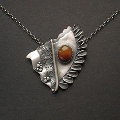 Anna Fidecka. Silver metal clay and Carnelian.