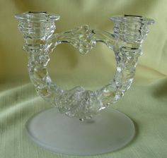 Indiana Glass Double Candlestick Holder Garland Pattern #301 1930's