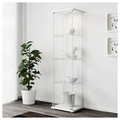 IKEA - DETOLF, Glass-door cabinet, white, With a glass-door cabinet you can show off as well as protect your glassware or your favourite collection. You can easily brighten up your display objects as the glass-door cabinet is designed to include lighting. Wine Glass Shelf, Floating Glass Shelves, Glass Shelves Kitchen, Quality Furniture, New Furniture, Furniture Making, Hemnes, Glass Cabinet Doors, Glass Door