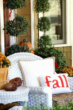 Fall porch - love that pillow!