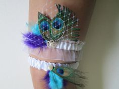 Bridal Wedding Garters, White Satin Sheer Garters, Peacock Garters, Purple Garters, Teal Blue Garters, Pearled/Heirloom Garter on Etsy, $35.50