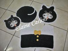 Elaine Carlini Artesanato: Jogo de Banheiro Gato Preto
