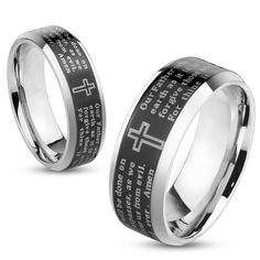 Lord's Prayer Black IP Beveled Edge Ring ( - 6-7 mm), Men's