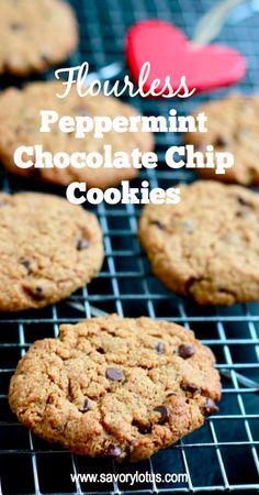Flourless Peppermint Chocolate Chip Cookies -  savorylotus.com #flourless #cookies #glutenfree
