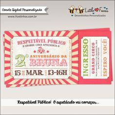 Convite Festa Circo Menina Vintage para Imprimir