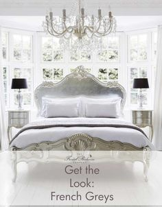 The French Bedroom Company Blog, Get the Look: French Grey. Behind the scenes stylists tips on getting our look from our silver serenity french bed photo shoot. Light and airy bedroom with white walls and white painted floor boards. Silver french furniture and crystal chandelier