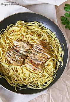 Garlic Butter Pasta With Herb Roasted Chicken. A quick, delicious and light pasta meal
