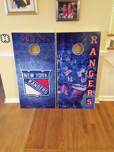 New York Rangers custom cornhole boards. www.danscustomgames.com  We ship!