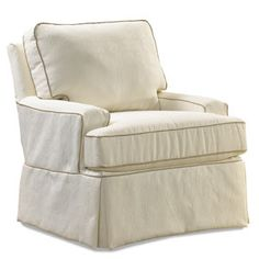 TRINITY- This fully upholstered swivel glider has a stylish, casual look of a slipcover, but is fully upholstered by one of our experienced craftsmen. The plush seating will offer the most comfortable seat you and your baby will every enjoy. The back is removable and reversible as is the seat cushion. It's available in special cording or without and also available with a matching glide ottoman.