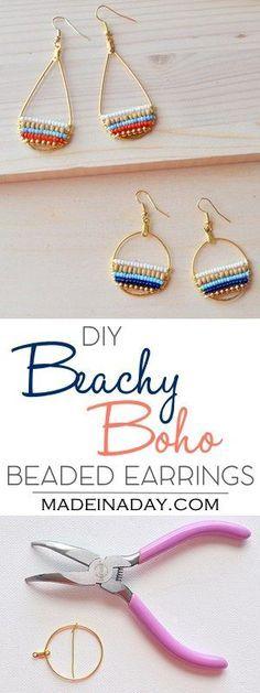 DIY Beachy Bohemain Beaded Hoop Earrings, Super fun layered beaded earrings, so cute & boho. Bohemian, beachy, trendy, hoop earrings, navy blue earrings, wood bead, beaded gold hoop earrings, anthrohack. Tutorial on madeinaday.com via @madeinaday