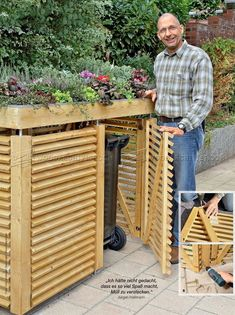 Ted's Woodworking Plans - Garden Store Plans - Outdoor Plans - Get A Lifetime Of Project Ideas & Inspiration! Step By Step Woodworking Plans Garbage Can Shed, Garbage Can Storage, Outdoor Trash Cans, Store Plan, Bin Store, Gazebos, Bike Shed, Shed Plans, Diy Garden Decor