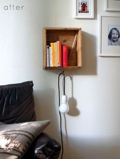 12 Dorm Room Decorating DIY Projects Take an old drawer and turn it into a wall shelf with a hanging beside lamp. (: