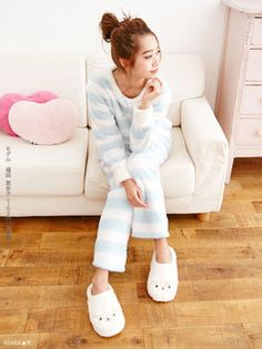 Border pattern double-sided boat tops & Pants 2 set borderoomware border sweatshirts Nightgowns fluffy furry cute Bois Pajamas pink purple blue 2 piece set cute Lolita Princess casual women's borderoomware dream vision ◆ 10/23 delivery will