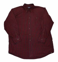 Vintage 90s Lands End Plaid Button Down Shirt Made in USA Mens size 16 1/2 - 32 (Large)