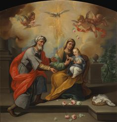 Saint Joachim, Saint Anne and Virgin Mary as a Child / San Joaquín, Santa Ana y la Virgen niña // Siglo XVIII // Anónimo