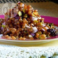Coriander, Pistachio and Sultana Wheat Berry Salad (but use a touch of maple rather than honey)